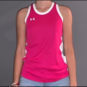 pink under-armour athletic shirt